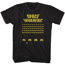 Image for Space Invaders Yellow Print T-Shirt