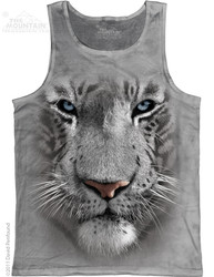 Image for The Mountain Tank Top - White Tiger Face