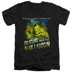 Image for The Creature From the Black Lagoon V Neck T-Shirt - Not Since the Beginning of Time