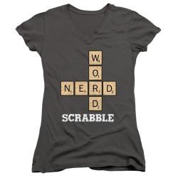 Image for Scrabble Girls V Neck T-Shirt - Word Nerd