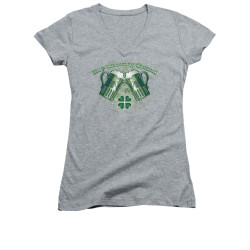 Image for Saint Patricks Day Girls V Neck T-Shirt - Green Beer