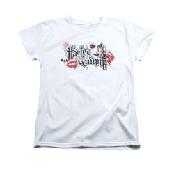 Image for Batman Arkham Knight Woman's T-Shirt - Harley Quinn Lips