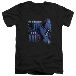 Image for Farscape V Neck T-Shirt - Blue and Bald