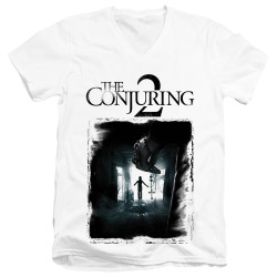 Image for The Conjuring V Neck T-Shirt - Conjuring 2 Montone Poster