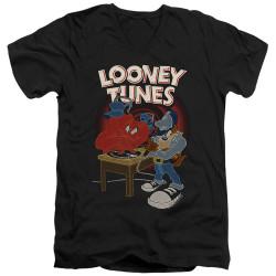 Image for Looney Tunes T-Shirt - V Neck - Tasmanian Devil DJ Looney