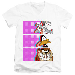 Image for Looney Tunes T-Shirt - V Neck - Face Tiles