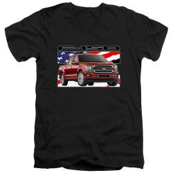 Image for Ford V Neck T-Shirt - F150 Flag