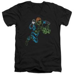 Image for Green Lantern V Neck T-Shirt - Neon Lantern
