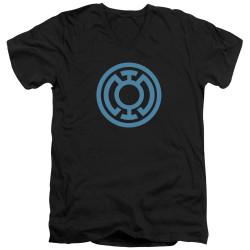Image for Green Lantern V Neck T-Shirt - Lt Blue Emblem
