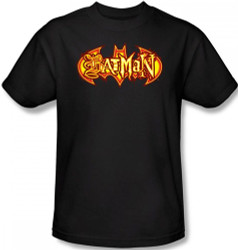 Batman T-Shirt - Halloween Fiery Shield Logo Image 2
