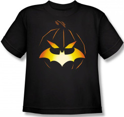 Image for Batman Kids T-Shirt - Halloween Jack O' Bat Logo