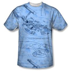 Image for Star Trek Sublimated T-Shirt - Enterprise Blue Print 100% Polyester