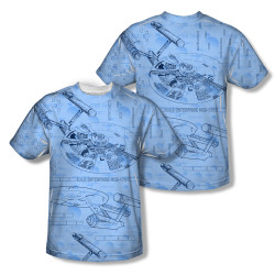 Image Closeup for Star Trek Sublimated Youth T-Shirt - Enterprise Blue Print
