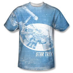 Image for Star Trek Sublimated T-Shirt - Ships Blueprint 100% Polyester