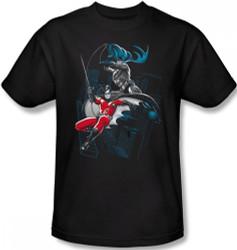 Image Closeup for Batman T-Shirt - Batman & Robin Black and White