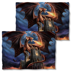 Image Closeup for Anne Stokes Pillow Case - Dragon's Fury