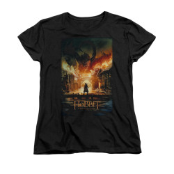 Image for The Hobbit Woman's T-Shirt - Smaug Poster