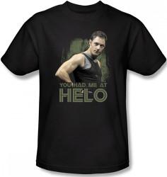 Image Closeup for Battlestar Galactica T-Shirt - You had me at Helo