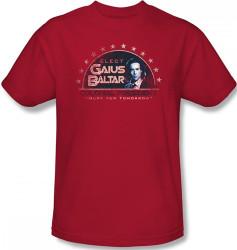 Image Closeup for Battlestar Galactica T-Shirt - Elect Gaius Baltar