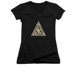 Image for Revenge of the Nerds Girls V Neck T-Shirt - Tri Lambda Logo