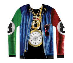 Image for Old School Rapper Costume Sublimated Long Sleeve T-Shirt