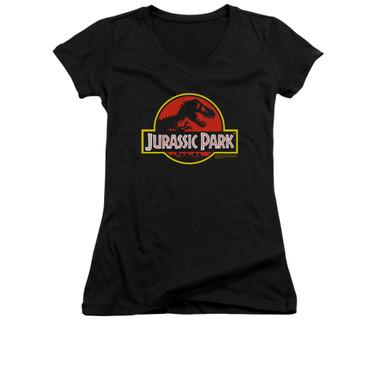 Image for Jurassic Park Girls V Neck T-Shirt - Classic Logo