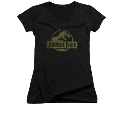 Image for Jurassic Park Girls V Neck T-Shirt - Distressed Logo