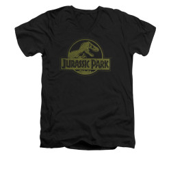 Image for Jurassic Park V-Neck T-Shirt - Distressed Logo