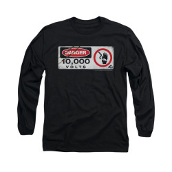Image for Jurassic Park Long Sleeve T-Shirt - Electric Fence Sign