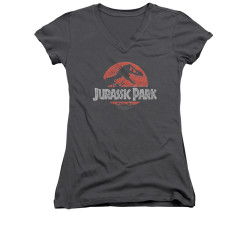 Image for Jurassic Park Girls V Neck T-Shirt - Faded Logo