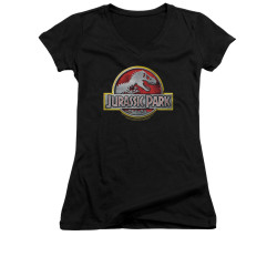 Image for Jurassic Park Girls V Neck T-Shirt - Logo