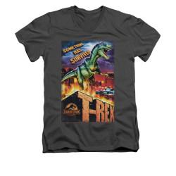 Image for Jurassic Park V-Neck T-Shirt - Rex in the City