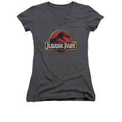 Image for Jurassic Park Girls V Neck T-Shirt - Stone Logo