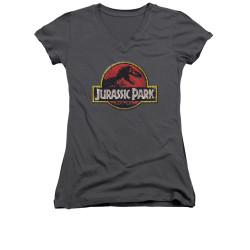 Image for Jurassic Park Girls V Neck T-Shirt - Stone Logo