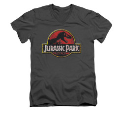 Image for Jurassic Park V-Neck T-Shirt - Stone Logo