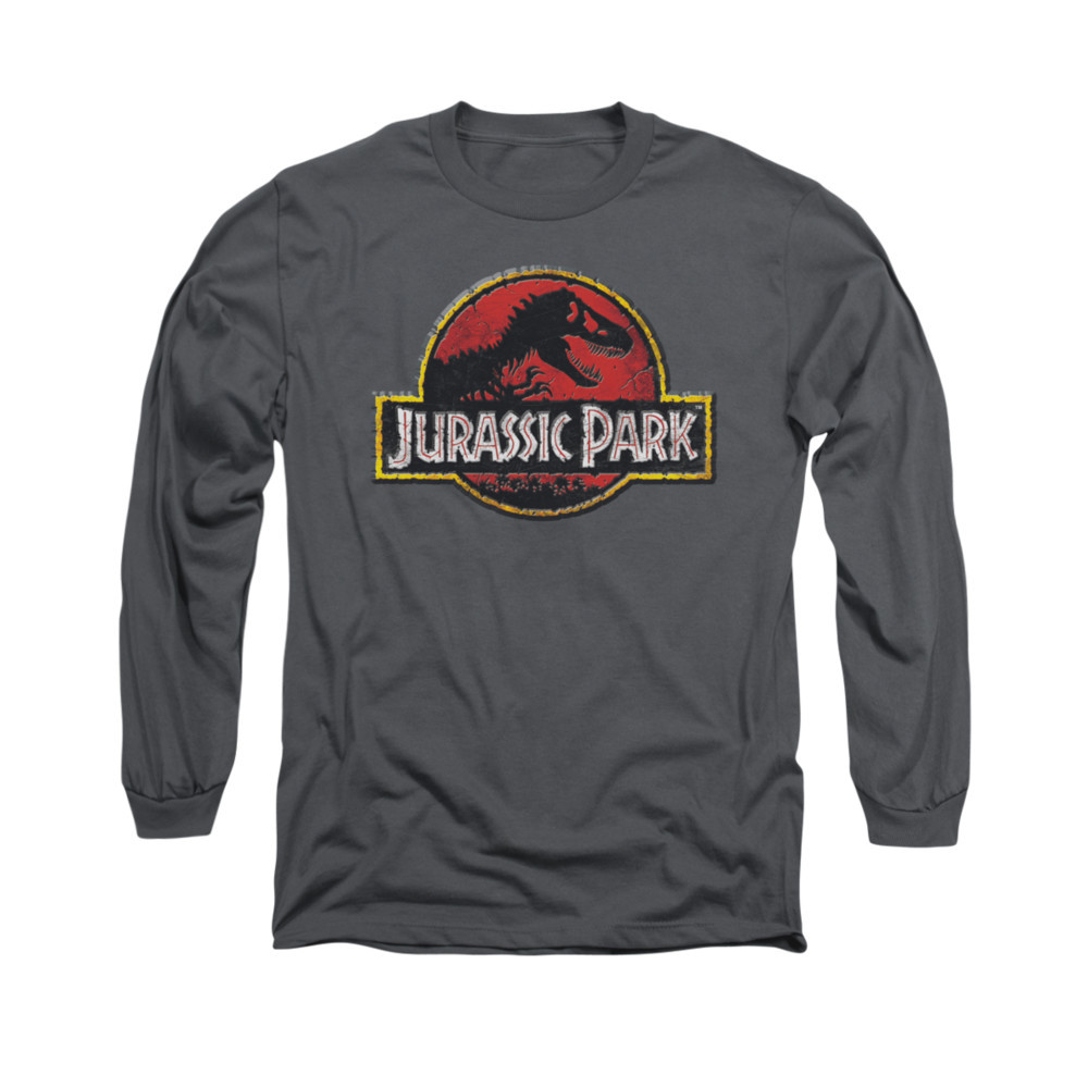 98fb2899e Jurassic Park Long Sleeve T-Shirt - Stone Logo - NerdKungFu.com