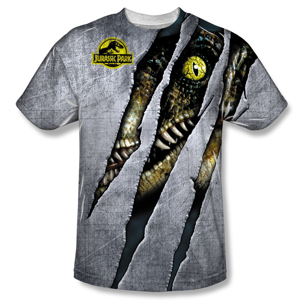 3551f6c3 Jurassic Park Sublimated Youth T-Shirt - Live Raptor. Loading zoom. Hover  over image to zoom