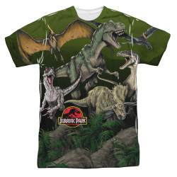 Image for Jurassic Park Sublimated T-Shirt - Pack of Dinos 100% Polyester