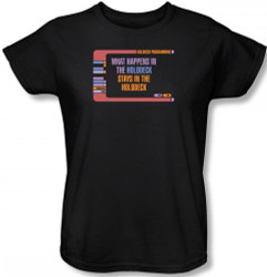 Image for Star Trek Womans T-Shirt - What Happens in the Holodeck
