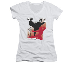 Image for Bruce Lee Girls V Neck T-Shirt - Kick It