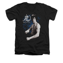 Image for Bruce Lee V-Neck T-Shirt - Dragon Stance