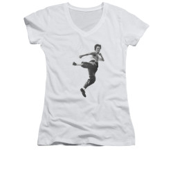 Image for Bruce Lee Girls V Neck T-Shirt - Flying Kick