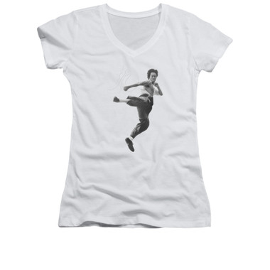 Image for Bruce Lee Girls V Neck T-Shirt - Flying Kick