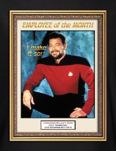 star trek t shirt riker employee of the month nerdkungfu