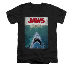 Image for Jaws V-Neck T-Shirt - Lined Poster