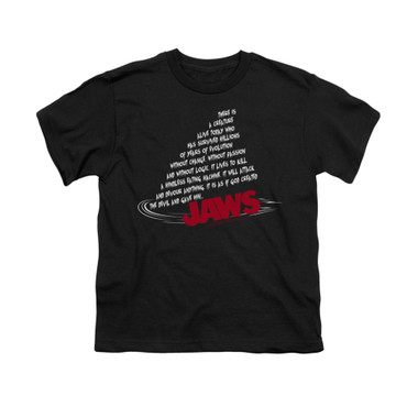 Image for Jaws Youth T-Shirt - Dorsal Text