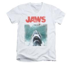 Image for Jaws V-Neck T-Shirt - Vintage Poster