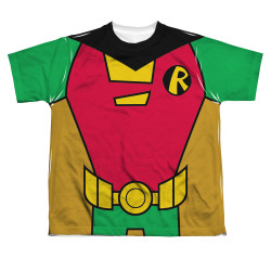 Image for Teen Titans Go! Sublimated Youth T-Shirt - Robin Uniform 100% Polyester