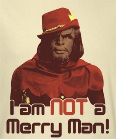 Image for Star Trek T-Shirt - Worf I am NOT a Merry Man!
