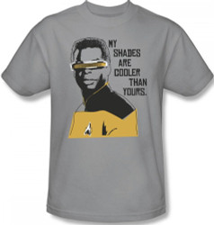 Image Closeup for Star Trek T-Shirt - Geordi My Shades are Cooler than Yours